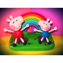 Adorno En Porcelana Fria Torta Cumpleaños Peppa Pig