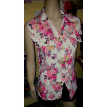 Camisa Sin Mangas Importada Jean Chaleco Mujer Flores Sexy