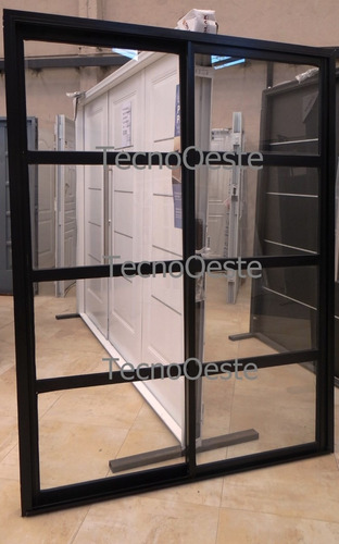 Puerta ventana balc n aluminio negro repartido horizontal Puerta balcon aluminio medidas