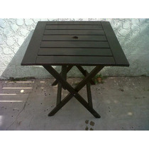 Mesa Plegable 70x70 Lustrada Y Tonalizada Color Roble