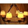 Lámpara Colgante Herrería Artística 6 Luces Oval C/pantallas