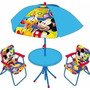 Juego De Jardin Reposera Mesa Sombrilla Mickey Minnie Cars
