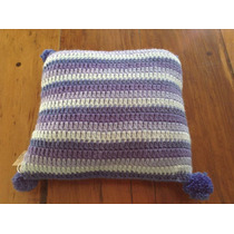Almohadon Tejido A Mano A Crochet 30 * 30 Cm Violeta Rayas