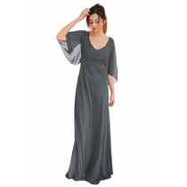 Vestido Largo De Gasa Con Detalles Bordados, Brishka, V-0031