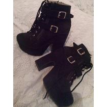 Zapatos Altos Negros Gamuza Con Cordones