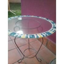 Mesa Con Guarda En Vitrofusión-mosaico Para Rincón