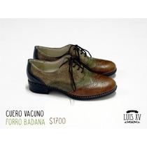 Zapato Acordonado Tipo Mocasín Cuero Vacuno