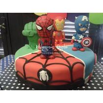 Avengers- Los Vengadores Adorno Para Torta - Porcelana Fria