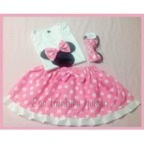 Disfraz Minnie Mouse - Pollerita Y Remera Con Moño