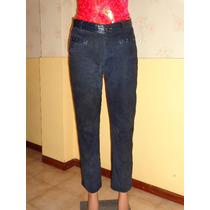 Pantalon De Cuero Y Gamuza Azultalle 2 Combinados Y Forrados