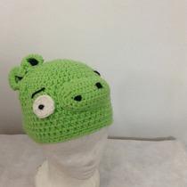 Gorro Cerdo Angry Birds Artesanal Tejido Al Crochet