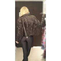 Campera Cuero Ecológico Con Flecos Mujer Moda 2016 C/ Negro