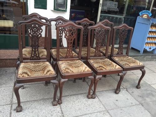 Antiguo Juego De Comedor Ingles Mesa 8 Sillas Y 2 Sillones en venta ...