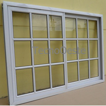 Ventana Aluminio 150x110 Blanco Vidrio Repartido C/vidrio