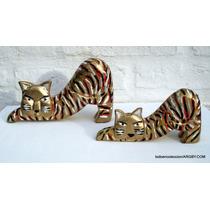 2 Tigres Madera Pintados A Mano 18x11 Y 15x7 Cm
