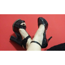 Sandalias Zapatos Stiletto Negro Charol Pulsera