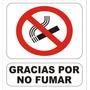 Cartel Prohibido Gracias Por No Fumar Alto Impacto 22x28 Cm