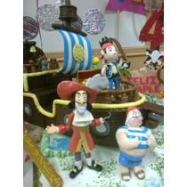 Jake Y Los Piratas! Y Barco, Adorno Torta En Porcelana Fria
