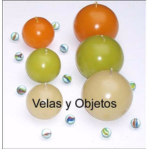 Vela Esfera 6cm Artesanales Souvenir Centro De Mesa Bautismo