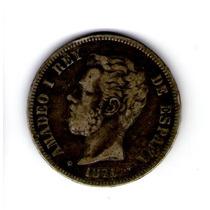 5 Pesetas 1871 Amadeo I Rey De España De Plata
