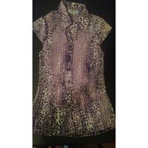 Blusa Camisa Plizada Estampada Con Botones Importada