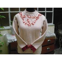Pullover, Sweater Con Detalles Bordados A Mano