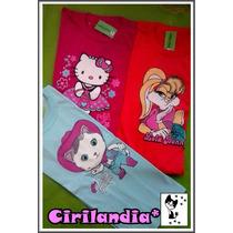 3 Camisetas Mangas Largas Nenas Niñas Talle 8 Personajes