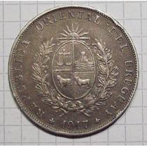 Uruguay 1 Peso Plata 1917 Excelente Con Dedicatoria