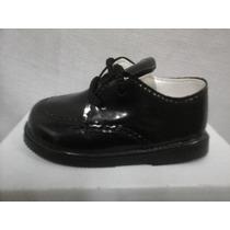 Zapato Infantil Charol Color Negro Cordones Fiesta Oferta