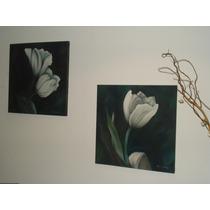 Arte Pintura Oleo Cuadro Moderno Decorativo Flores N/diptico