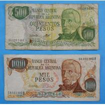 2 Billetes Pesos Ley De 500 Y 1000 Pesos Ley Argentina