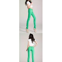 Pantalón Largo Verde Colores Mujer Tiro Bajo Importado Jean