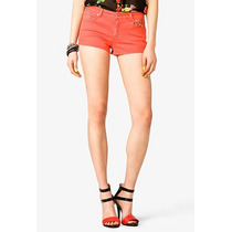 Forever 21 Short Jean Coral Con Tachas Talle L
