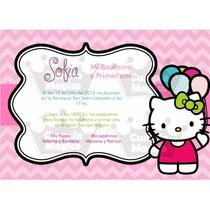Kitty Tarjetas Invitaciones Cumpleaños Personalizadas X 10