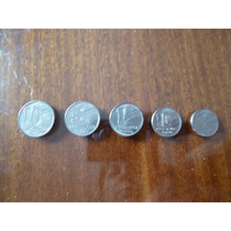Monedas Coleccion 5,10 Cent Y 1,5,10 Cruzeiros Brasil 1990