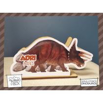 Servilletero Evento Personalizado Madera Dinosaurio Tricerat