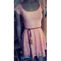 Vestido Noche Encaje Rosa Mujer Importado Corto Fiesta