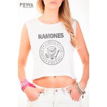 Top Powa 100% Algodón Con Estampa Ramones