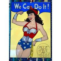 Cuadro Pintado A Mano Sobre Vidrio Wonder Woman We Can Do It