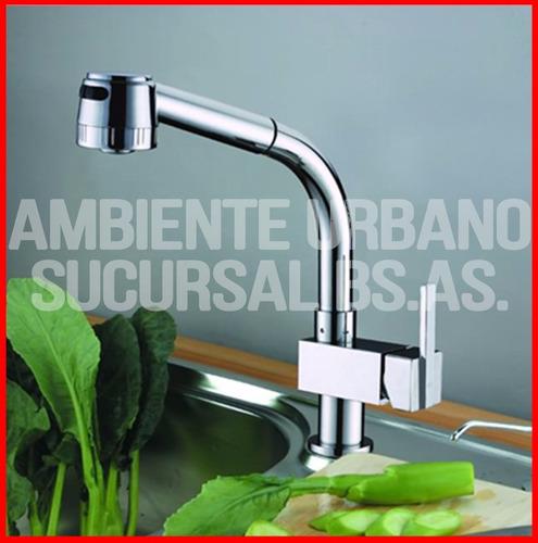 Griferia monocomando con rociador duchador extensible 80cm for Griferia monocomando