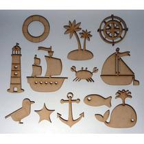 Figuras Fibrofacil Marinas Barco Faro 5 Cm Alto X 20 Unid