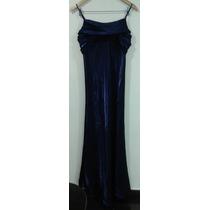 Vestido Largo De Fiesta Tornasolado Azul Francia Talle M