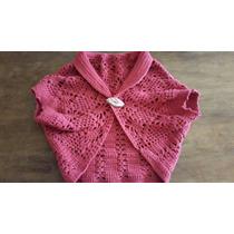 Bolero /chaleco Rojo Coral Tejido Al Crochet