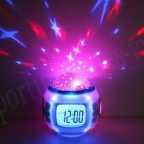 Reloj Despertador Alarma Proyector Estrellas Con Musica D&o