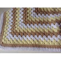 Manta Tejida A Mano Crochet 64*64 Cm Blanca Marron Amarillo