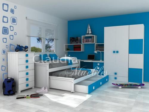 Cama nido 1 y 1 2 plaza laqueada con cajones bajo cama 1 for Cama 2 plazas con cajones