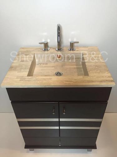 Vanitory 60x45 marmol travertino madera laqueado acero for Marmol travertino chile