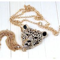Colgante Leopardo. Cristales, Baño De Oro 14 Kt.