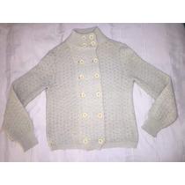 Saco Sweater Lana Con Botones Y Cuello Jazmín Chebar