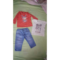 Pantalon Jean Mimo L Y 2 Remeras Beba 9-12 M.